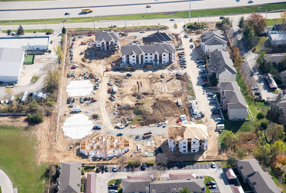 Aerial Views of Celtic Crossing Apartment project underway in St. Charles, Missouri